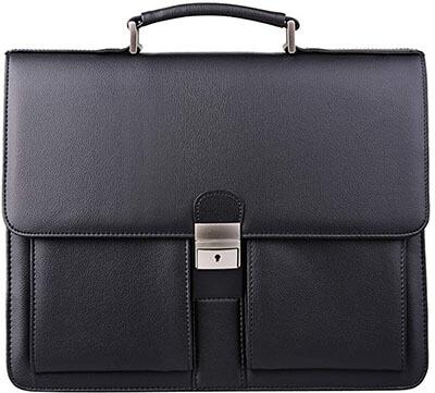 Jack & Chris MBYX015 Mens New PU Leather Briefcase Messenger Laptop Bag