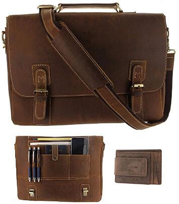 Viosi Men's RFID Leather 16 inch Laptop Messenger Bag