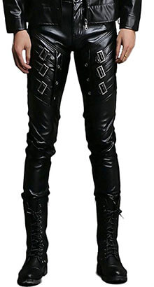 Idopy Men`s Leather Biker Pants, Black