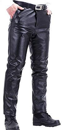 Stunner Men's Winter plus Velvet Thick Straight PU Leather Biker Pants