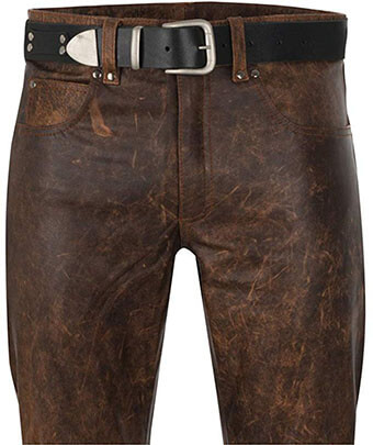 South Beach Leather Men's Antique Brown 5-Pocket Leather Jeans Pant