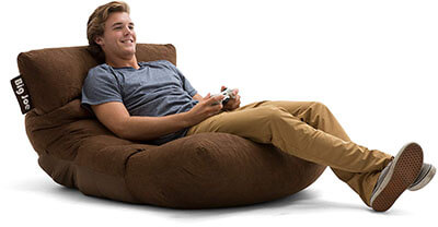 Big Joe Roma Bean Bag Chair, Chocolate, Comfort Suede Plus