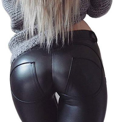 DALLNS Faux Leather PU -Elastic Shaping Hip Push Up Pants Sexy Leggings for Women