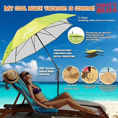 Dekero Fishing Patio Beach Umbrella