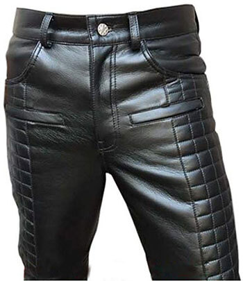 Olly And Ally men's Real Leather Motorcycle Bikers Pants Jeans Trouser Quilted Design