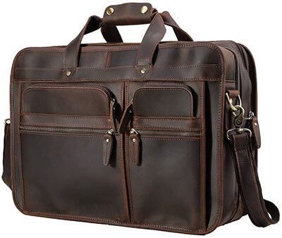 Polare Men's 17 inches Full Grain Leather Messenger Bag for Laptop Tote