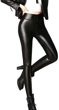 Samuel Sexy Black Faux Leather Leggings Pants
