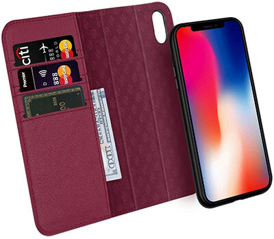 Zover iPhone Xs/X Case Genuine Leather Wallet Case
