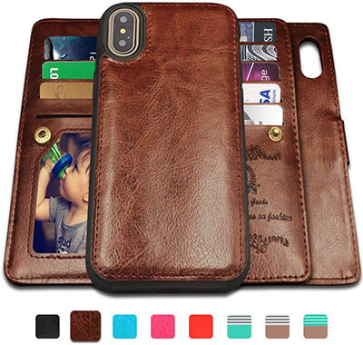 CASEOWL iPhone X, iPhone Xs Case Wallet with Magnetic Detachable Case