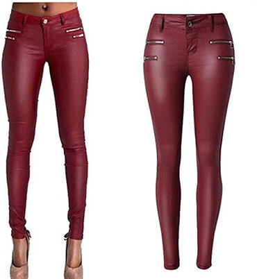 Lexiart PU Leather Denim Sexy Tight and Stretchy Rider Leggings