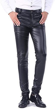 Idopy Men`s Five Pockets Faux Leather Pants Jeans- Slim Fit