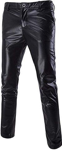 Boyland Men's Casual Night Club Metallic Moto Jeans Style