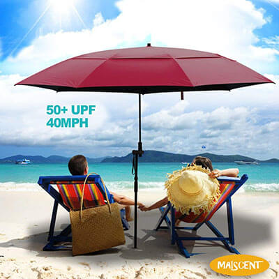 MAISCENT Beach umbrella, 5FT UV protection windproof