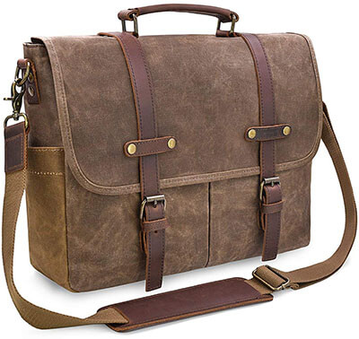 Men's Messenger Bag, 15.6 inch Leather, Waxed Canvas Briefcase