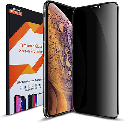 Uxinuo Privacy Tempered Glass Screen Protector for iPhone Xs MAX 2018