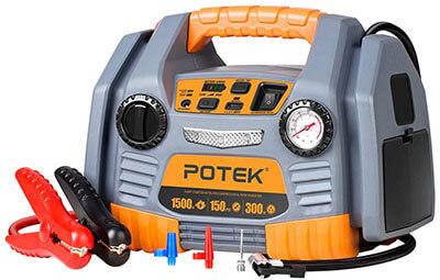 POTEK Portable Power Source: 1500 Peak/750 Instant Amps Jump Starter, 150 PSI Air Compressor, 300W Inverter
