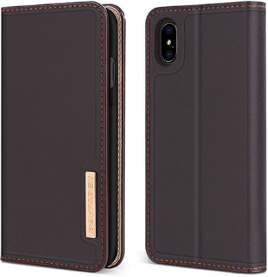 BENTOBEN Genuine Leather Folio Wallet Case for iPhone XS Max