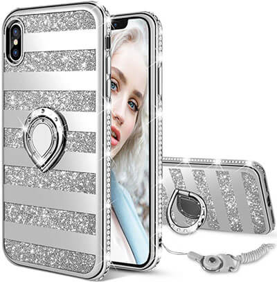Maxdara Case iPhone Xs Max Glitter Case Striped Ring Grip Holder Kickstand