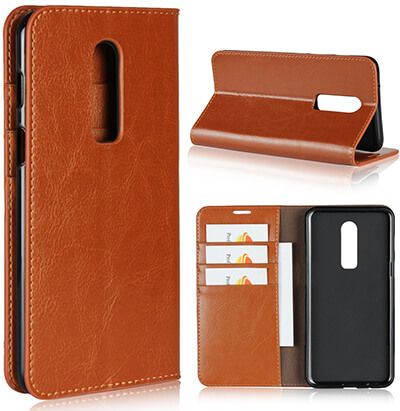ICoverCase Genuine Leather Wallet Case for OnePlus 6