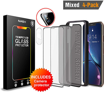 NASH Premium Screen Protector for iPhone Xs Max, 4 Pack