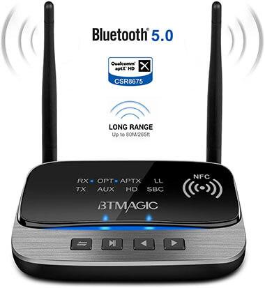 BTMAGIC 265FT Long Range 3 in 1 Bluetooth Audio Adapter, Bluetooth 5.0