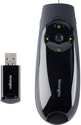 Kensington Expert Wireless Presenter with Cursor Control and Green Laser Pointer