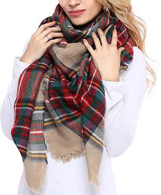 Bess Bridal Women Plaid Blanket Winter Scarf