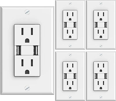 Sunco Lighting High-Speed USB Port Charger and Duplex Receptacle