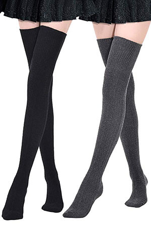 Kayhoma Extra Long Cotton Thigh High Socks