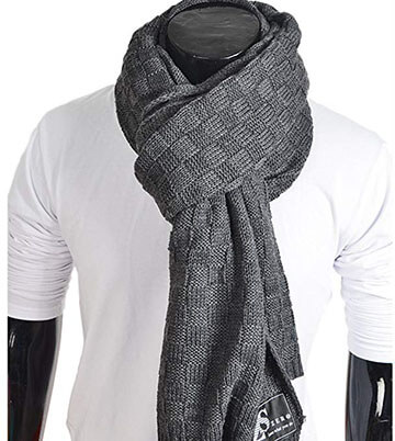 HISSHE Men's Knit Cable Scarf Soft Winter Scarves Long Scarf