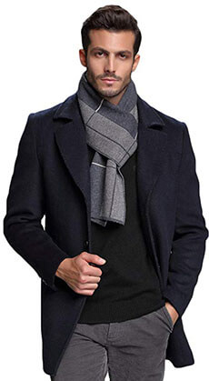 RIONA Men's Plaid Knitted Scarf - Soft Warm Australian Merino Wool