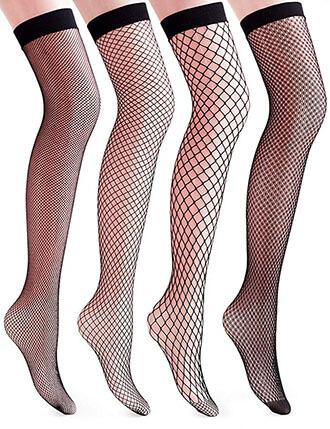 VERO MONTE 4 Pairs Women's Fishnet Thigh High Socks