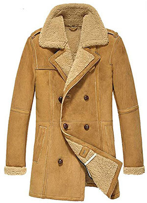 Cwmalls Men's Winter Shearling Sheepskin Coat