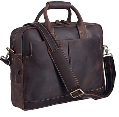 Texbo Genuine Full Grain Leather Men's 16 Inch Messenger bag-Laptop Briefcase