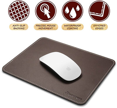 Instead Mouse Pad- Premium Leather with Waterproof Coating