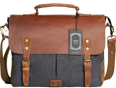Wowbox Messenger Satchel Bag-Vintage Canvas Real leather