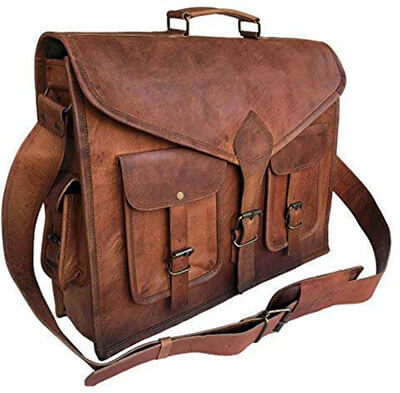 Komal's KPL 18-Inch Rustic Vintage Leather Messenger Bag