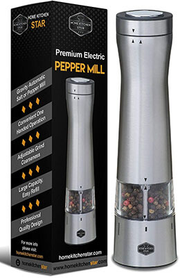 HomeKitchenStar Automatic Battery Operated electric pepper Grinder