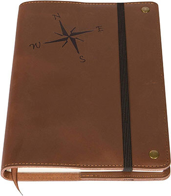 Amazing Office Compass Rose Real Leather Refillable Journal