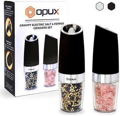 OPUX Premium Gravity Electric Pepper and Salt Grinder