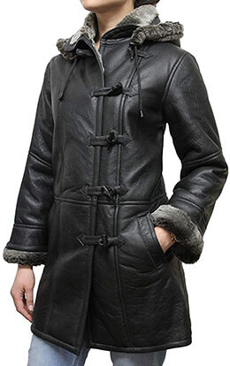 Brandslock Women's Leather Genuine Sheepskin Duffel Coat