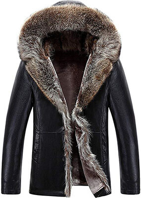 K3K Winter Warm Shearling Sheepskin Leather Jacket for Men