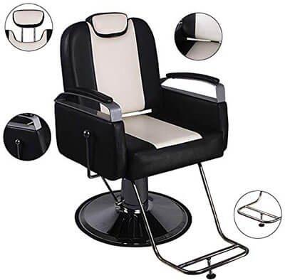 Walcut Reclining Hydraulic Barber Chair Salon Beauty-with Reclining Function
