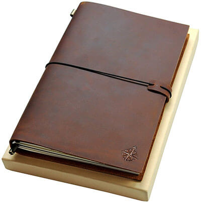 Wanderings Grande Refillable leather Travel Notebook