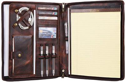 Hifriend Handmade Vintage Zippered Business Leather leather portfolio for men & Women