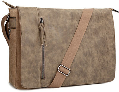 Tocode Vintage Canvas - PU Leather Mixed Large Crossbody Shoulder Bag