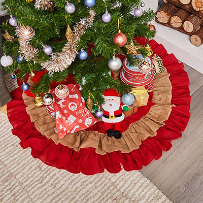 Burlap Christmas Tree Skirt Ruffled Skirt-48-Inch