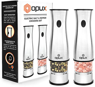 OPUX Premium Deluxe Electric Salt and Pepper Grinder Set