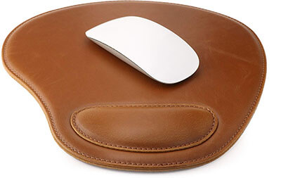 OTTO Leather Oval Mouse Pad with Wrist Rest