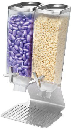 Rosseto EZ514 2-Container Dry Food-Snack Dispenser with Stainless Steel Stand